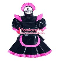 French Sissy Maid Pvc Dress Uniform Lockable Cosplay Costume Tailor-made[G3963]