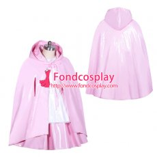 Alice lockable pink heavy PVC Cape/cloak cosplay Tailor-made[G3913]