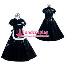 heavy PVC lockable black sissy maid dress Unisex Tailor-maid[G3919]