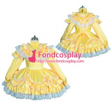 lockable Sissy maid yellow satin dress Unisex TV Tailor-made[G3918]
