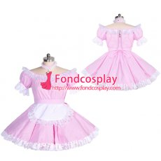 pink gingham sissy maid lockable dress Unisex Tailor-made[G3925]