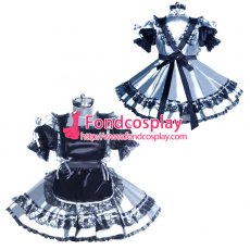 lockable Sissy maid silver satin dress cosplay costume Tailor-made[G3932]