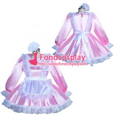pink Satin Lockable Sissy Maid Dress Unisex CD/TV Tailor-Made [G3931]