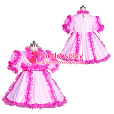 French lockable pink PVC adult baby sissy doll dress unisex Tailor-made[G3873]