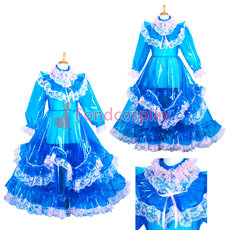 French Lockable EVA Plastic sissy maid blue long dress CD/TV Tailor-Made[G3850]