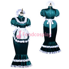 French lockable Sissy Maid Satin dress Fish Tail unisex CD/TV Tailor-made[G3824]