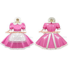 French Sexy Sissy Maid Pvc Dress Pink Lockable Uniform Cosplay Costume Tailor-Made[G415]