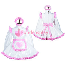 French Lockable Sissy maid PVC dress cosplay costume Unisex Tailor-made[G3820]