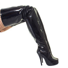 French Pleaser Seduce Crossdresser Sissy Maid Thigh High Boots 15CM