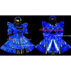 French Sexy Sissy Maid Blue Pvc Dress Lockable Uniform Cosplay Costume Tailor-Made[G464]