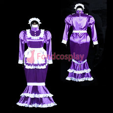 French lockable Sissy Maid Satin dress Fish Tail unisex CD/TV Tailor-made[G3843]