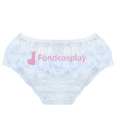 French Clear PVC Brief Panties lace sissy maid CD/TV Tailor-Made[G3854]