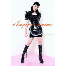 French Sexy Sissy Maid Dress Black Pvc Dress Maid Uniform Cosplay Costume Tailor-Made[CK1231]
