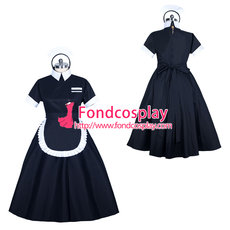 French black Cotton lockable sissy maid dress unisex Tailor-made[G3894]