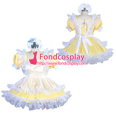 French lockable yellow sissy maid satin dress unisex Tailor-made[G3916]