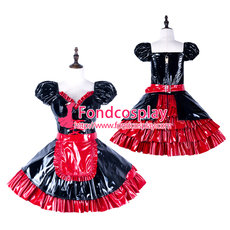 French Sissy Maid Pvc Dress Lockable Uniform Cosplay Costume Tailor-Made[G2287]