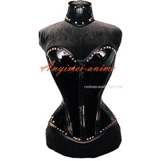 French Sissy Maid Boned Gothic Vinyl Pvc Corset With Collar Club Corset Dress Cosplay Costume Tailor-Made[CK1183]