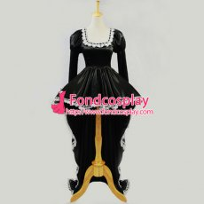 Anime Chii Chobits Freya Black Satin Dress Cosplay Costume Custom-Made[G607]