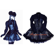 Gothic Lolita Japan J-Rock Black Pvc Dress Cosplay Costume Tailor-Made[CK150]