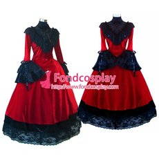 J-Rock Red Velvet Dress Gothic Punk Tailor-Made[G1618]