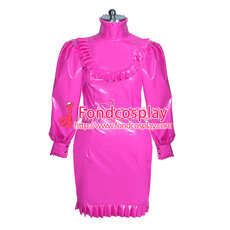 lockable hotpink PVC gothic dress unisex Tailor-made[G3878]