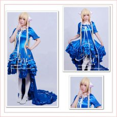 Chobits Chii Blue Satin Dress Cosplay Costume Tailor-Made[G518]
