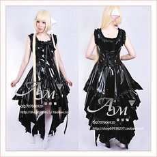 Chobits-Chii Black Pvc Dress Cosplay Costume Tailor-Made[G649]