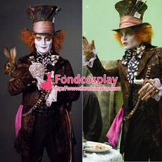 Alice In Wonderland The Mad Hatter Johnny Depp Moive Cosplay Costume Tailor-Made[G1475]