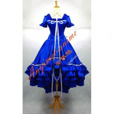 Gothic Lolita Chobits Chii Blue Satin Dress Cosplay Costume Tailor-Made[G667]