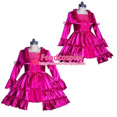 French Sissy maid Satin lockable dress Uniform cosplay costume Tailor-made[G3941]