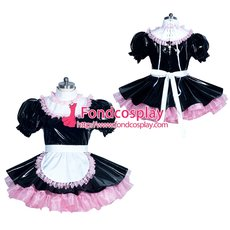 French Sissy maid PVC lockable dress Uniform cosplay costume Tailor-made[G3940]