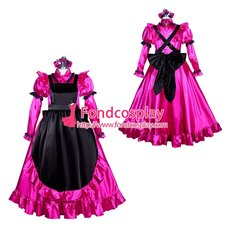 French Sissy maid Satin lockable dress Uniform cosplay costume Tailor-made[G3948]