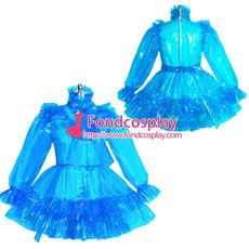 French lockable blue clear PVC sissy maid dress unisex Tailor-made[G3952]