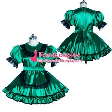 French Sissy maid satin lockable dress Uniform cosplay costume Tailor-made[G3956]