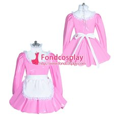 French lockable Pink PVC sissy maid dress unisex Tailor-made[G3959]