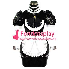 French Sissy Maid Pvc Dress Uniform Lockable Cosplay Costume Tailor-made[CK844]