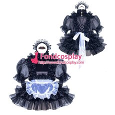 French Sissy Maid Satin Dress Uniform Cosplay Costume Tailor-made[G3969]
