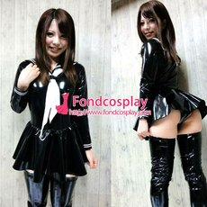 French Sissy Maid PVC Dress Uniform Cosplay Costume Tailor-made[G3976]