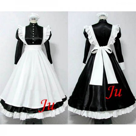 French Black Sexy Sissy Maid Dress Satin Lockable Uniform Cosplay Costume Tailor-Made[CK514]