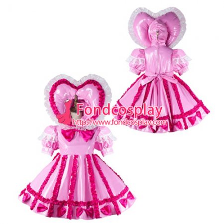 French Sissy Maid Pvc Dress Lockable Uniform Cosplay Costume Tailor-Made[G2161]