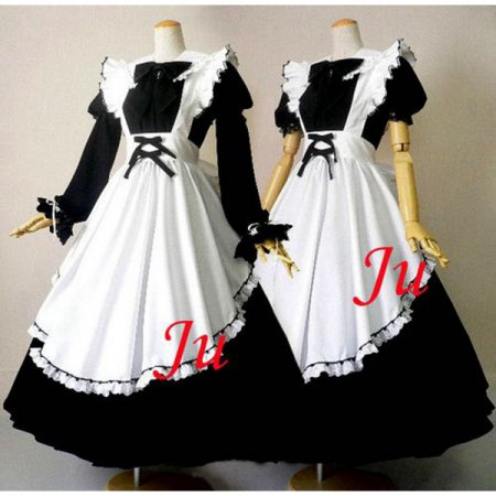 French Sexy Sissy Maid Long Dress Cotton Uniform Cosplay Costume Tailor-Made[CK397]