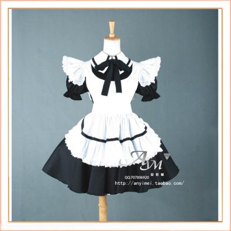 French Sexy Sissy Maid Cotton Lockable Dress Uniform Cosplay Costume Tailor-Made[CK432]
