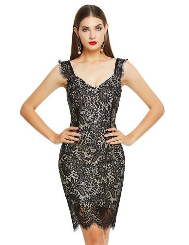 Conservative Black Wide Straps Lace Patchwork Bandage Dress Shop