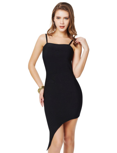 Black Slender Straps Asymmetrical Hem Bandage Dress For Women