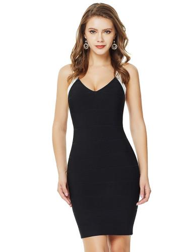 Dressy Contrast Color Sling Backless Bandage Dress Comfort Devotion