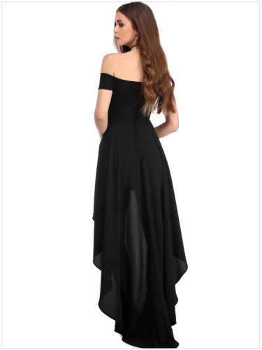 Fashionable Large Size Female Dress Sex Off Shoulder Evening Dress Sleeve Irregular Skirt