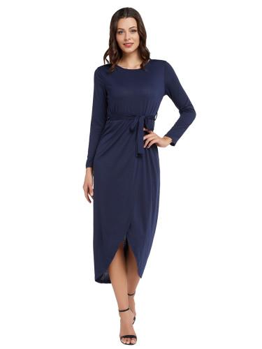 Alluring Purplish Blue Slit Hem Maxi Dress Tie Waist Plain