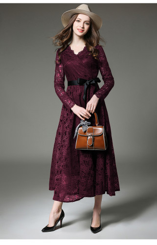 Temperament Lace Hollowed-out V-Neck Vollar Trim Lace Dress