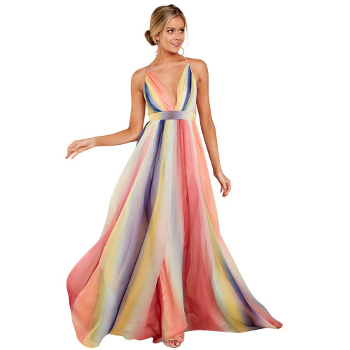 Sexy Colorful Dress With Deep V-Neck And Backless