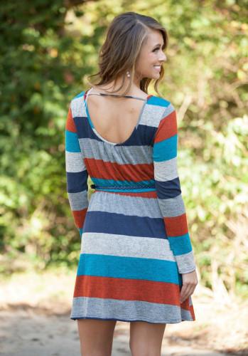 New Fashion Stripe Stitching Dress